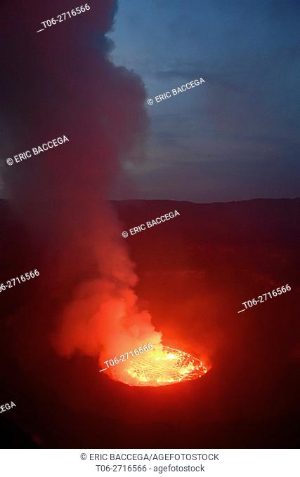 Lava lake at night in the crater of Nyiragongo Volcano, Virunga National Park, North Kivu Province, Democratic Republic of Congo