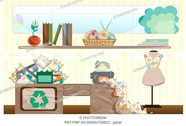 Conceptual image representing the use of recycled products to save environment