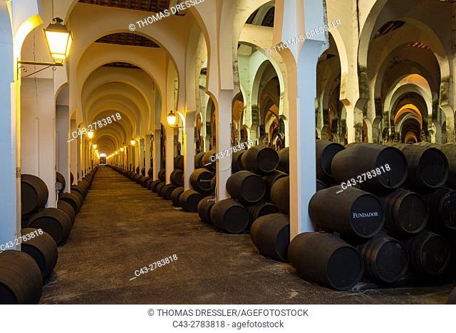 Stacked oak barrels in the wine cellar La Mezquita at the Bodegas Fundador Pedro Domecq in Jerez de la Frontera. Cadiz province, Andalusia, Spain