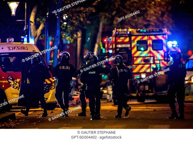 INTERVENTION BY THE ELITE FORCES BRI (RESEARCH AND INTERVENTION BRIGADE) BEFORE THE RAID, PARIS TERRORIST ATTACK AT THE BATACLAN ON NOVEMBER 13, 2015