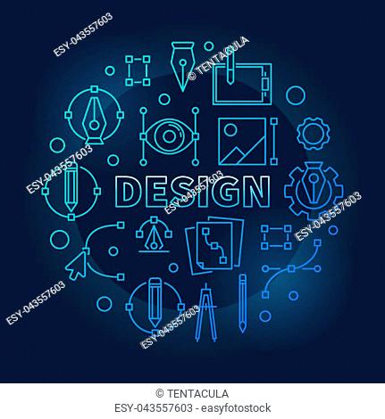 Design round blue thin line illustration. Vector graphic design concept outline sign on dark background