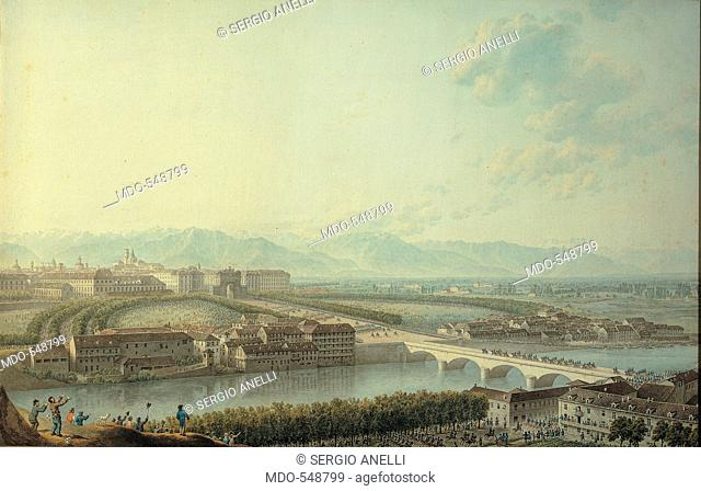 Victor Emmanuel I Enters Turin, by Bagetti Giuseppe Pietro, 19th Century, Unknow. Italy, Piemonte, Turin, Palazzo Reale, Royal Palace. All