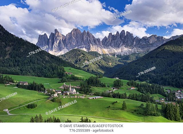 The beautiful Santa Maddalena and Val di Funes under the magnificent Odle Range in the Puez Odle Nature Park, Dolomites, South Tirol, Italy