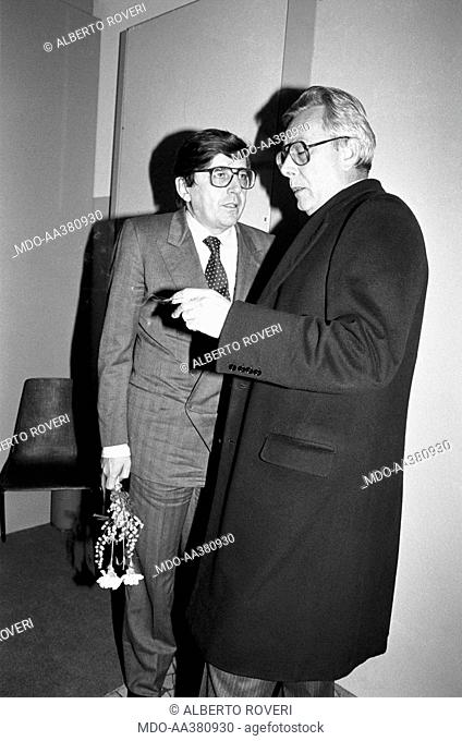 Arnaldo Forlani with Vincenzo Scotti. Vice President of the Council of Ministers of the Italian Republic Arnaldo Forlani talking to the Minister for...