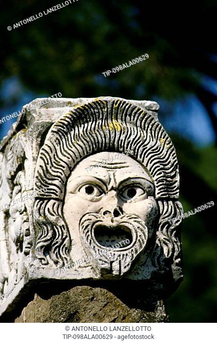 Italy, Rome, Ostia Antica, theater Mask