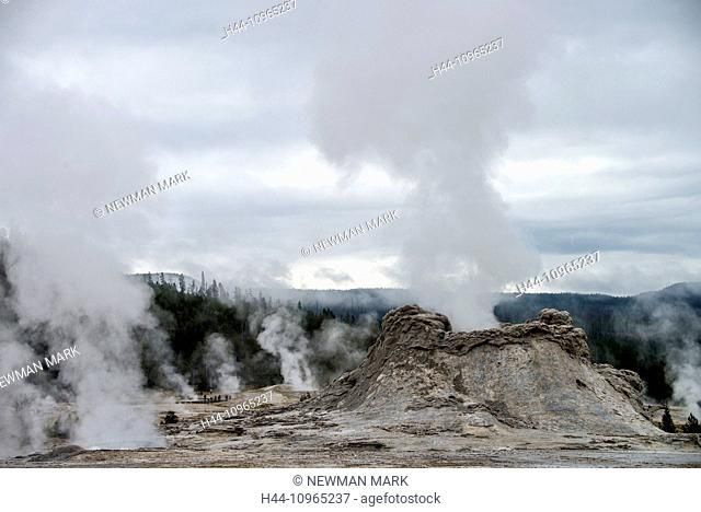 castle geyser, Upper Geyser Basin, Yellowstone, National Park, Wyoming, USA, United States, America, geyser, thermal