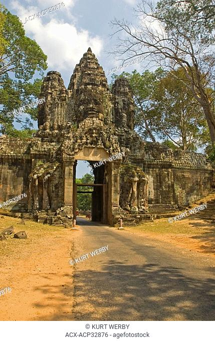 One of the gates at the temple of Angkor Thom at the Temples of Angkor near Siem Reap, Cambodia