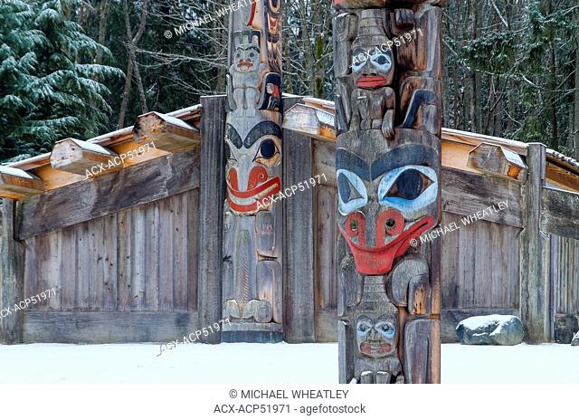 Totem poles and longhouse, Museum of Anthropology, MOA. University of British Columbia, Vancouver, British Columbia, Canada