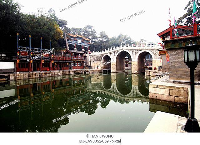 Buildings at the waterfront, Kunming Lake, Summer Palace, Beijing, China