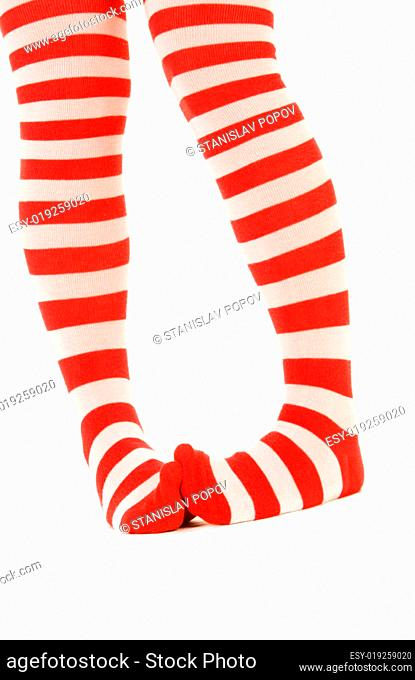 Striped red and white socks