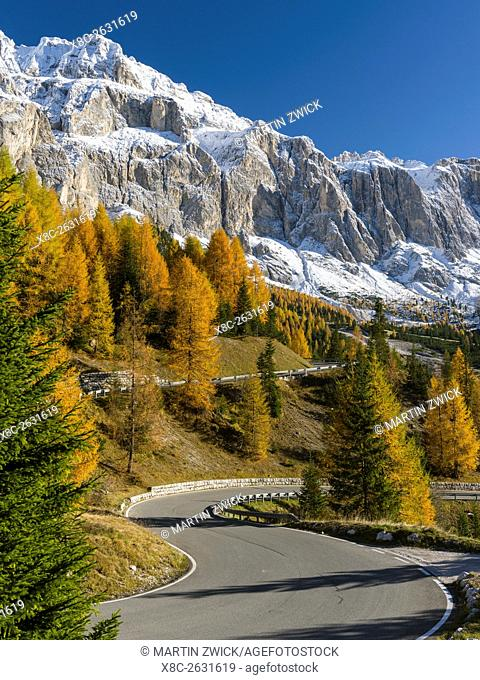 Mountain road leading up to Groedner Joch - Passo Gardena from the Groeden valley - Val Badia in the Dolomites of South Tyrol - Alto Adige
