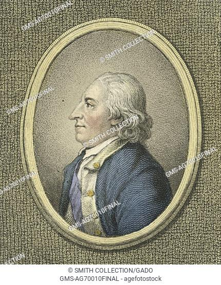 An engraving of Horatio Gates, a retired British soldier who served as a Major General in the American Revolutionary War; after a stalled British military...