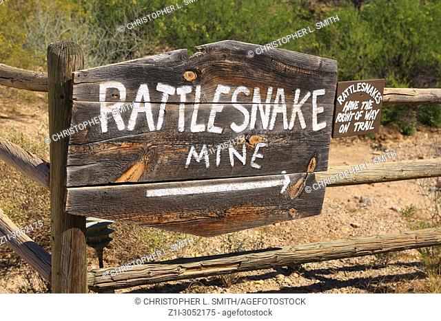 Rattlesnake Mine sign at the Old Tucson Film Studios amusement park in Arizona