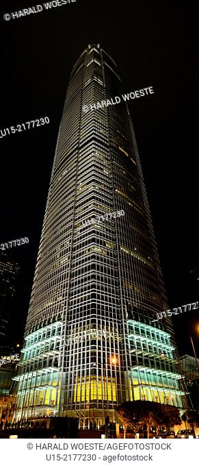 Hong Kong, China, Asia. Hong Kong Central. The 415-metre-tall tower of International finance Centre (IFC Tower 2). The IFC accommodates for example the Hong...