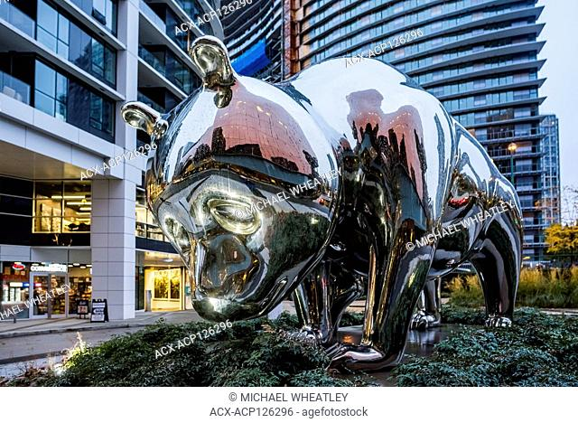 Stainless steel panda bears sculpture 'Slow' , by artist Zhang Huan, near Parq Vancouver casino hotel complex, Yaletown, Vancouver, British Columbia, Canada