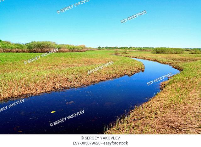 small river on spring field