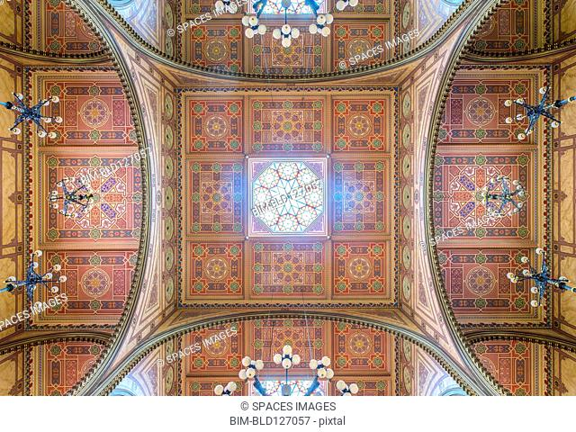 Ornate ceiling of Dohany Street Synagogue, Budapest, Hungary