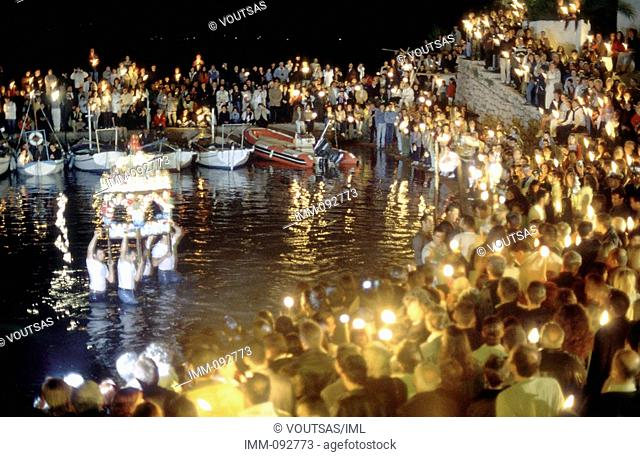 Saronic Gulf, Hydra at Easter The epitaphios is put at sea