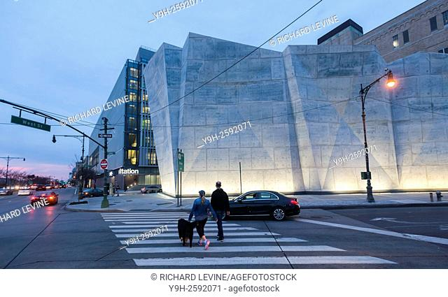 Designed by Dattner Architcts and WXY the newly opened New york City Dept. of Sanitation Salt Shed is seen on West Street
