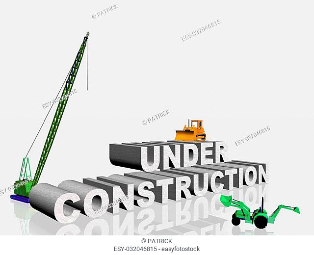 3d illustration, under construction sign, for web site use. Clipping path and copy space.