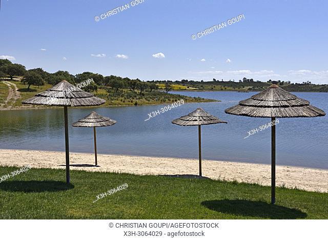 River beach of Mourao, banks of the dam lake of Alqueva on the Guadiana River near Mourao, Reguengos de Monsaraz, Alentejo region, Portugal, southwertern Europe