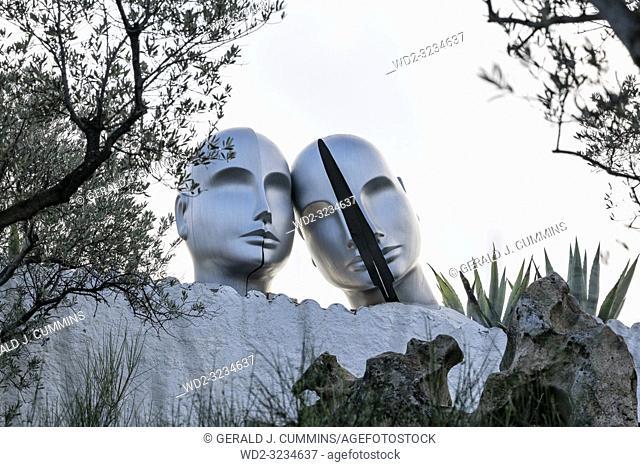 Statues of Castor and Pollux at the Salvador Dali House-Museum, Port lligat, Costa Brava, Catalonia, Spain