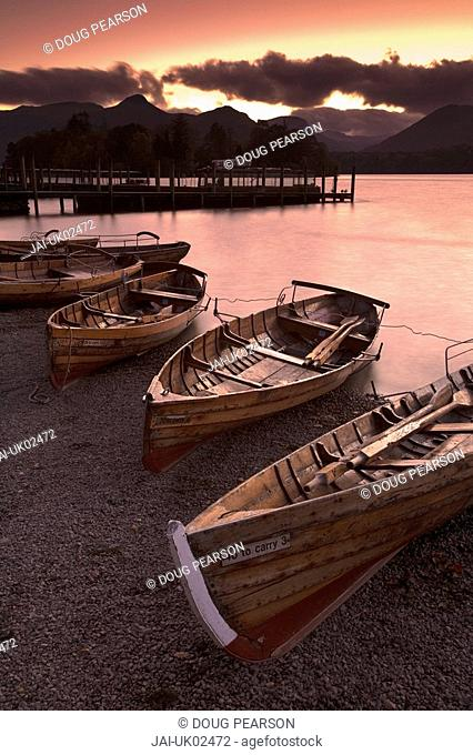 Rowing Boats, Derwent Water, Lake District, Cumbria, England