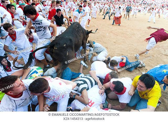 Amateur bullfight with young bulls, San Fermín street-partying, Pamplona, Navarra Navarre, Spain, Europe