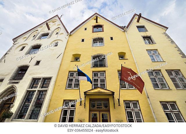 Old hotel Three sisters in Tallin medieval city downtown in Tallinn, Estonia