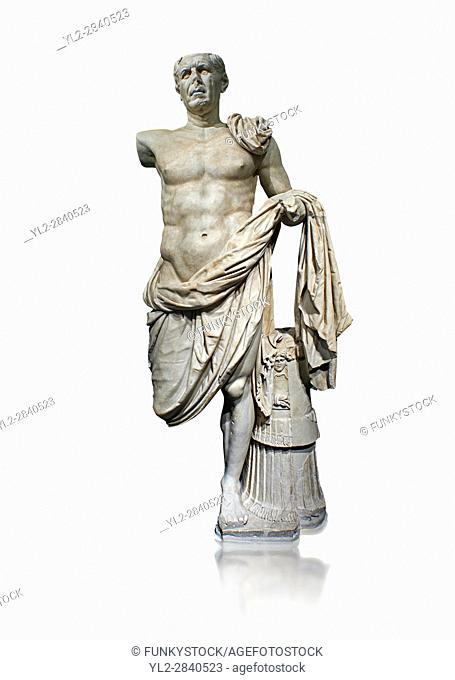 Roman Portrait statue of the so-called General Tivoli a Roman commander circa 70-70BC made in Greek marble and found in the excavation of the Temple of Hercules