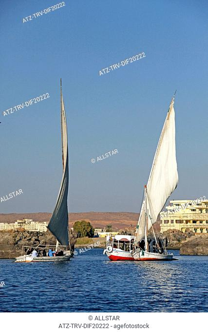 EGYPTIAN FELUCCAS & BOAT; RIVER NILE, ASWAN, EGYPT; 10/01/2013