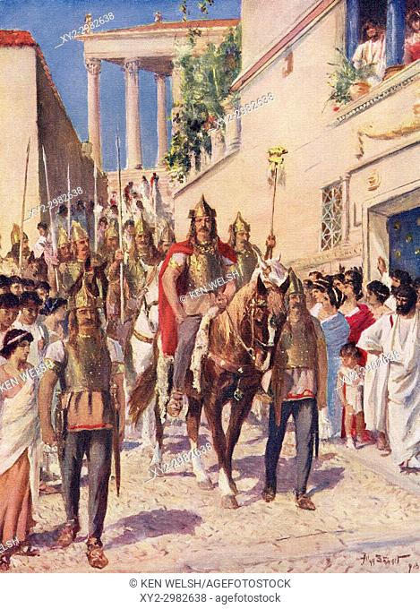 Alaric entering Athens after conquering the city in 395. Alaric I, c. 370/ 375 - 410. First King of the Visigoths. After the painting by Allan Stewart