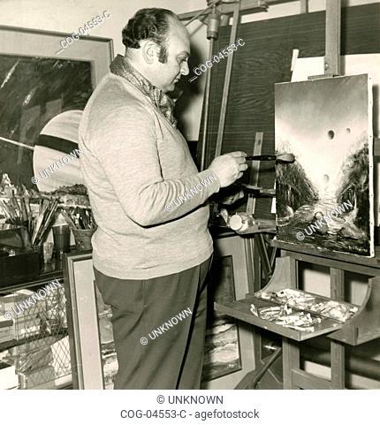 A portrait painter in his studio, Italy