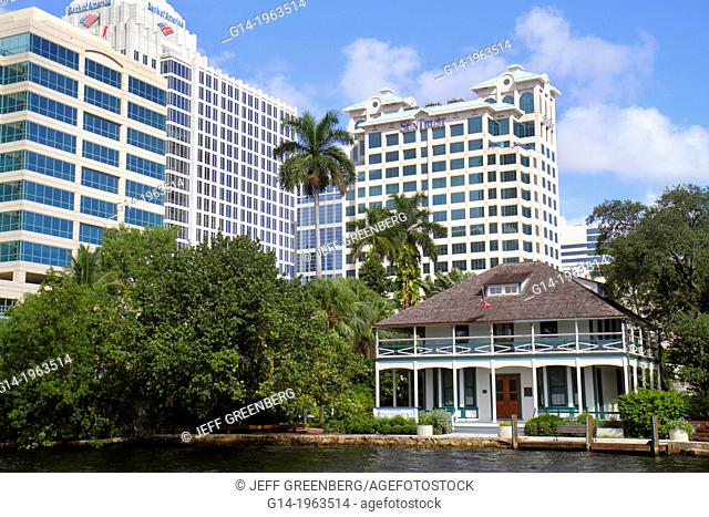 Florida, Ft. Fort Lauderdale, New River, Stranahan House, pioneer historic home, city skyline, office, high-rise, buildings,