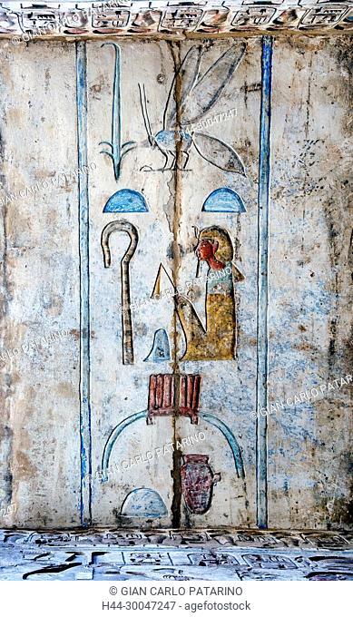 Medinet Habu, Luxor, Egypt, Djamet, mortuary temple of King Ramses III, XX dyn. 1185 -1078 B.C.,: colorful hieroglyps and cartouches