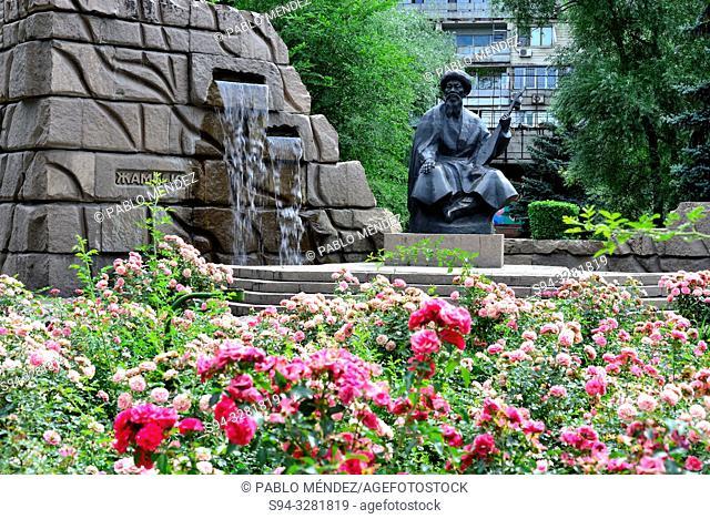 Statue of ' Zhambyl ' in a park in Almaty, Kazakhstan
