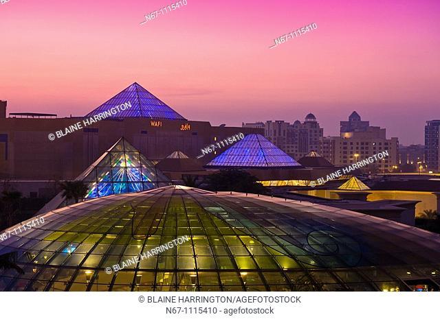 View from Raffles Dubai Hotel of the Wafi City Mall an Egyptian themed shopping mall, Dubai, United Arab Emirates