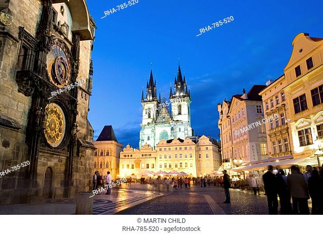Astronomical clock, Old Town Square and the Church of Our Lady before Tyn, Old Town, Prague, Czech Republic, Europe
