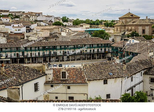 Aereal view of the green Major square of Chinchon village, Madrid province, Spain
