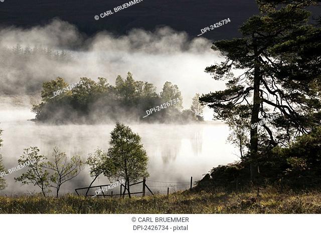 Mist over lake near Bridge of Orchy, Rannoch Moor; Strathclyde Region, Scotland