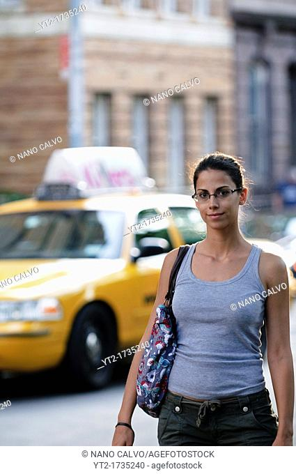Attractive young woman in New York City