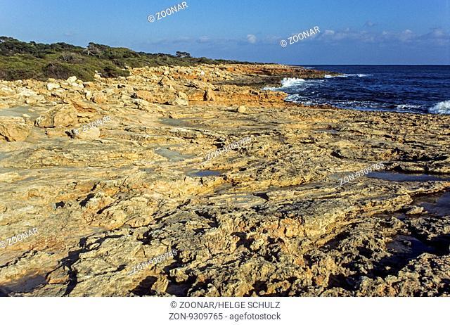 Felskueste am CAP DE SES SALINES / Rocky shore at the CAP DE SES SALINES / Mallorca - Balearen