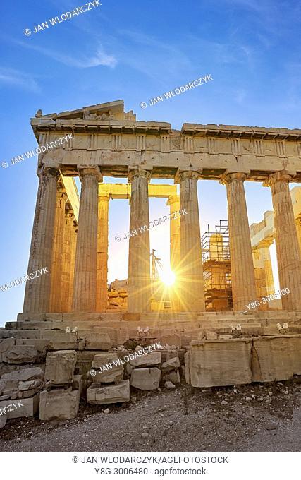 Parthenon at sunset time, Acropolis, Athens, Greece