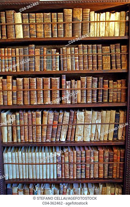 Old books in charterhouse. Valldemosa. Majorca, Balearic Islands. Spain