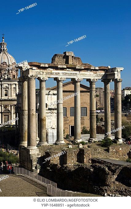 Temple of Saturn, Roman Forum, Rome, Latium, Italy