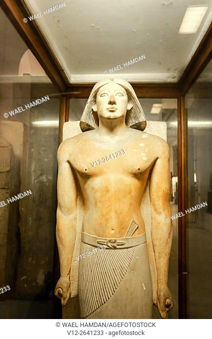 Ranefer, High Priest of Ptah and Sokar at Memphis, painted limestone statue, height 178 cm, from Saqqara, Detail, Egyptian civilization, Old Kingdom, Dynasty V