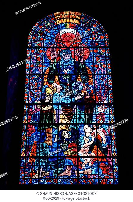 Peace window by Bossanyi in Canterbury Cathedral in City of Canterbury in Kent in England in Great Britain in the United Kingdom. 20th Century