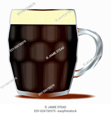 A traditional handled and dimpled glass of beer over a white background