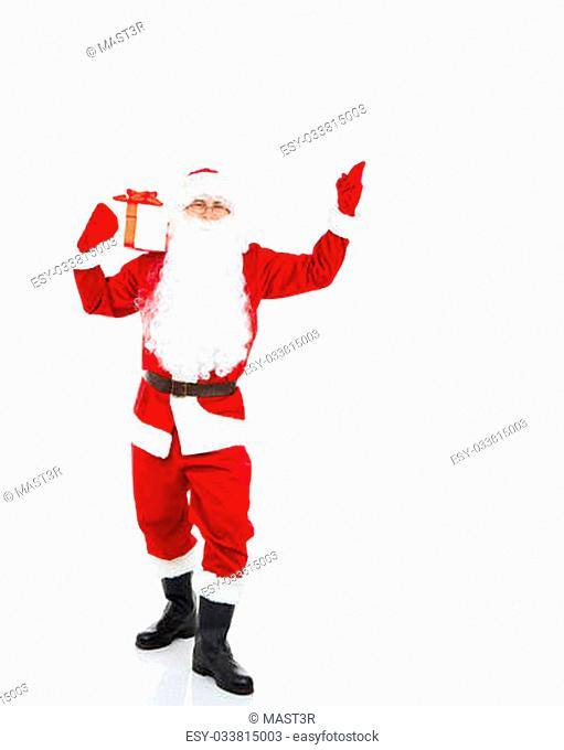 Santa Claus hold gift box present, point finger glove up at blank empty copy space for Text isolated over white background