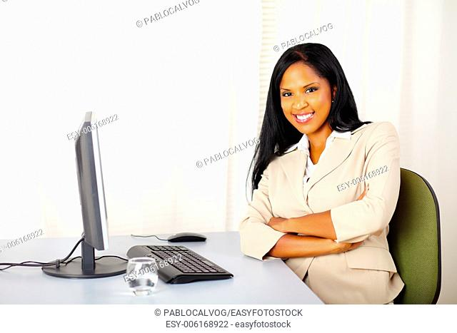 Portrait of a young confident businesswoman at work